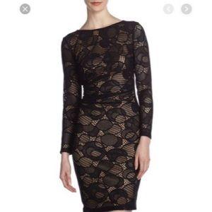 David Meister Crochet Lace Open-Back Sheath Dress